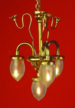 Three-Arm & Center Light Brass Chandelier by Lighting Bug Ltd