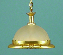 Brass Hanging Light, Frosted Shade by Lighting Bug Ltd