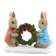Beatrix Potter Peter Rabbit & Flopsy Holding Holly Wreath Figurine