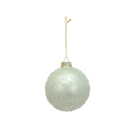 Sage Glass Glitter Bauble Hanging Ornament