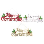 Metallic Merry Christmas Plaque - 39cm