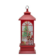 Red Lantern with Santa Scene and LED Light - 27cm
