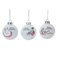 Frosted Glass Ballerina Bauble - 8cm