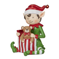 Christmas Elf Figurine with teddy bear