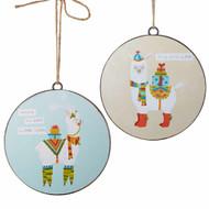 RAZ Llama Disk Hanging Ornament - 15cm