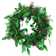 Christmas Holly Green Tinsel Wreath