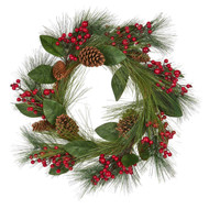 Red Berry Wreath with Pinecones - 61cm