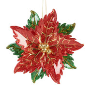 Red Poinsettia Hanging Ornament - 14cm