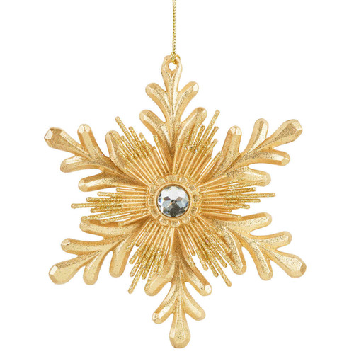 Gold Snowflake Ornament with Gem