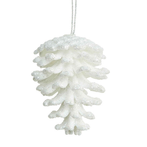 White Pinecone Hanging Ornament
