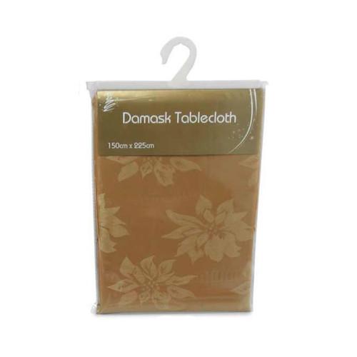 Gold Christmas Damask Table Cloth (150 x 225cm)