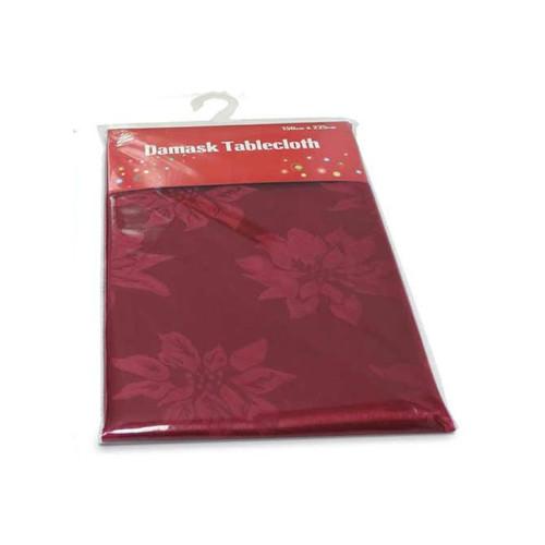 Burgundy Christmas Damask Table Cloth (150 x 225cm)