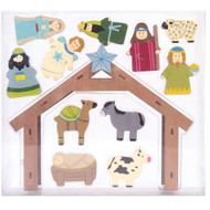 Wooden Nativity Scene - 12pc