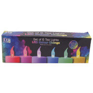 LED Colour Changing Tea Lights - 6 pack