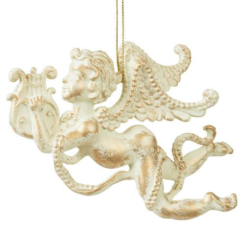 White & Gold Cherub Hanging Ornament