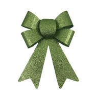 Glittered Green Christmas Bow - 18cm