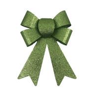 Glittered Green Christmas Bow - 18cm