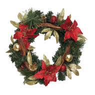 Decorated Red & Gold Wreath - 40cm
