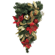 Decorated Red & Gold Hanging Drop - 60cm