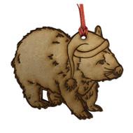 Laser Cut Christmas Wombat Hanging Decoration