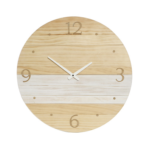 Cara Timber with White Paint Stripe Clock