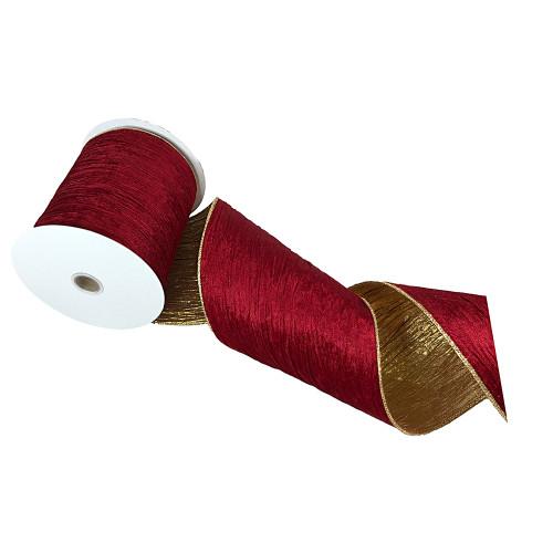 Wide Burgundy & Gold Velvet Ribbon