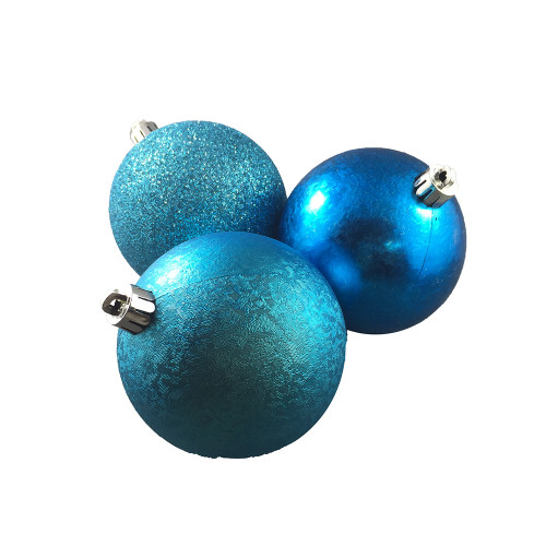 Teal Textured Baubles (6 Pack) - 80mm