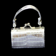 Crocodile Print Silver Purse Ornament