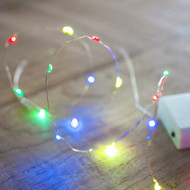 LED Copper Battery Operated Fairy Lights 40pc  - Multi Colour
