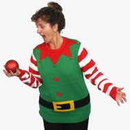 Ugly Christmas Jumper Elf with Striped Sleeves - Adult