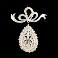 White Jewelled Drop Christmas Ornament - 12cm