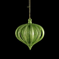Glittered Green Layered Onion Ornament