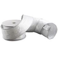 White & Silver Crinkled Velvet Ribbon - 10m