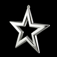 Set of 3 Silver Star Hanging Ornaments - 22 cm