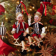 Black, Red & Gold Posable Elf-40cm