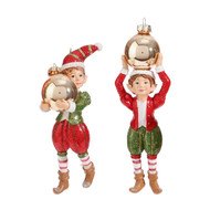 Christmas Elf Ornament with Bauble - 14cm