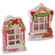 Christmas Window Shadowbox Glass Ornament - Snowman window and sleigh window