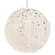 White Jewelled Snowball Ornament