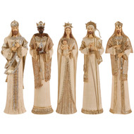 5 pc. Gold and Cream Nativity-36cm