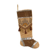 Beaded Gold & Brown Celebrations Stocking