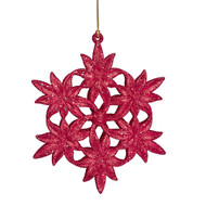 Red Glitter Snowflake Ornament
