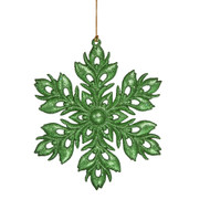 Green Glittered Snowflake Ornament