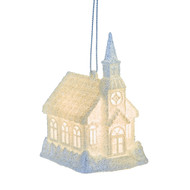 White Light Up Church Hanging Ornament