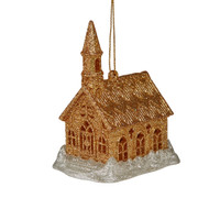Gold Light-Up Church Hanging Ornament - 10cm