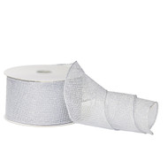 Glittered Silver Mesh Ribbon - 10m