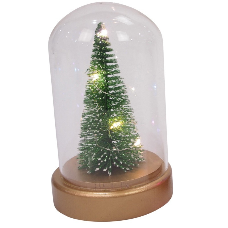a97d8d5931a6c7 ... Table Top Decorations; Glass Cloche with LED Christmas Tree - 11x18 cm.  Image 1