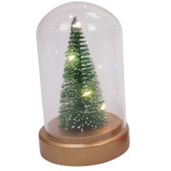 Glass Cloche with LED Christmas Tree - 11x18 cm