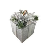Silver Gift Box Decoration-18 cm