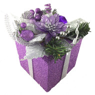 Purple Gift Box Decoration - 18cm
