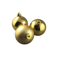 Pack of 24 Shiny & Matte Gold Baubles - 60mm